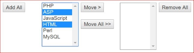 Moving elements or shifting options from one drop down list box to