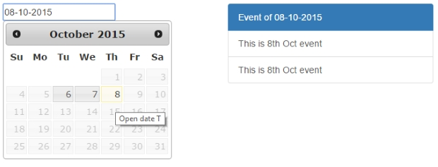 Event Management Script with Calendar control using JQuery