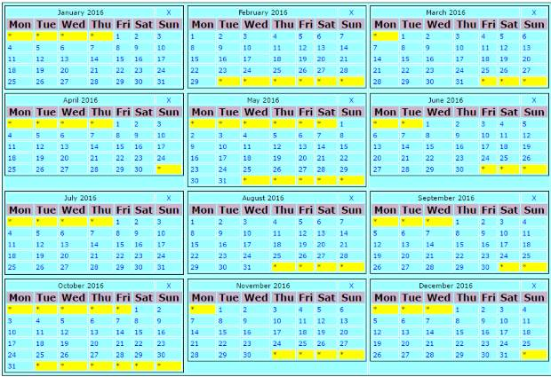 Plus2Net Yearly Calendar Showing 12 Months By Using Php Date Functions