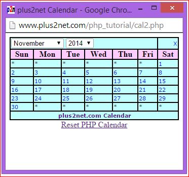 PHP calendar free script code and tutorial