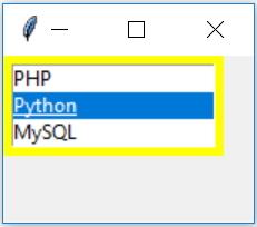 Python tkinter for GUI programs listbox